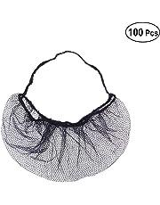 Healifty - 100 protectores desechables para barba de panal, antideslizantes, para cocinar y servir instalaciones sanitarias (negro)