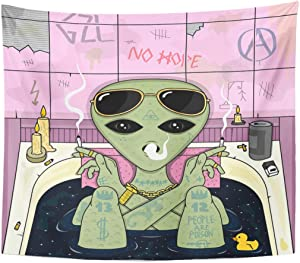 Emvency Tapestry Trippy Alien Smoke and Chill in Bath Cigarette Glasses Home Decor Wall Hanging for Living Room Bedroom Dorm 50x60 Inches