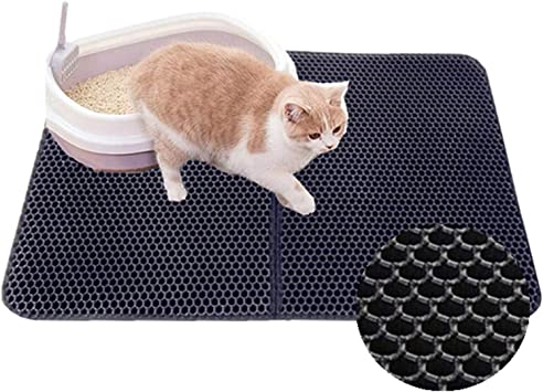 authda chat tapis litiere tapis pour bac a litiere xl l m s litiere pour chats eva foam double couche en 3d nid d abeille tapis de litiere chat facile