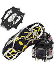 NeeMay Traction Cleats Ice Snow Grips with 18 Teeth Stainless Steel Spikes Crampons Anti-Slip Ice Grippers Safe for Winter Walking, Hunting,Climbing and Hiking