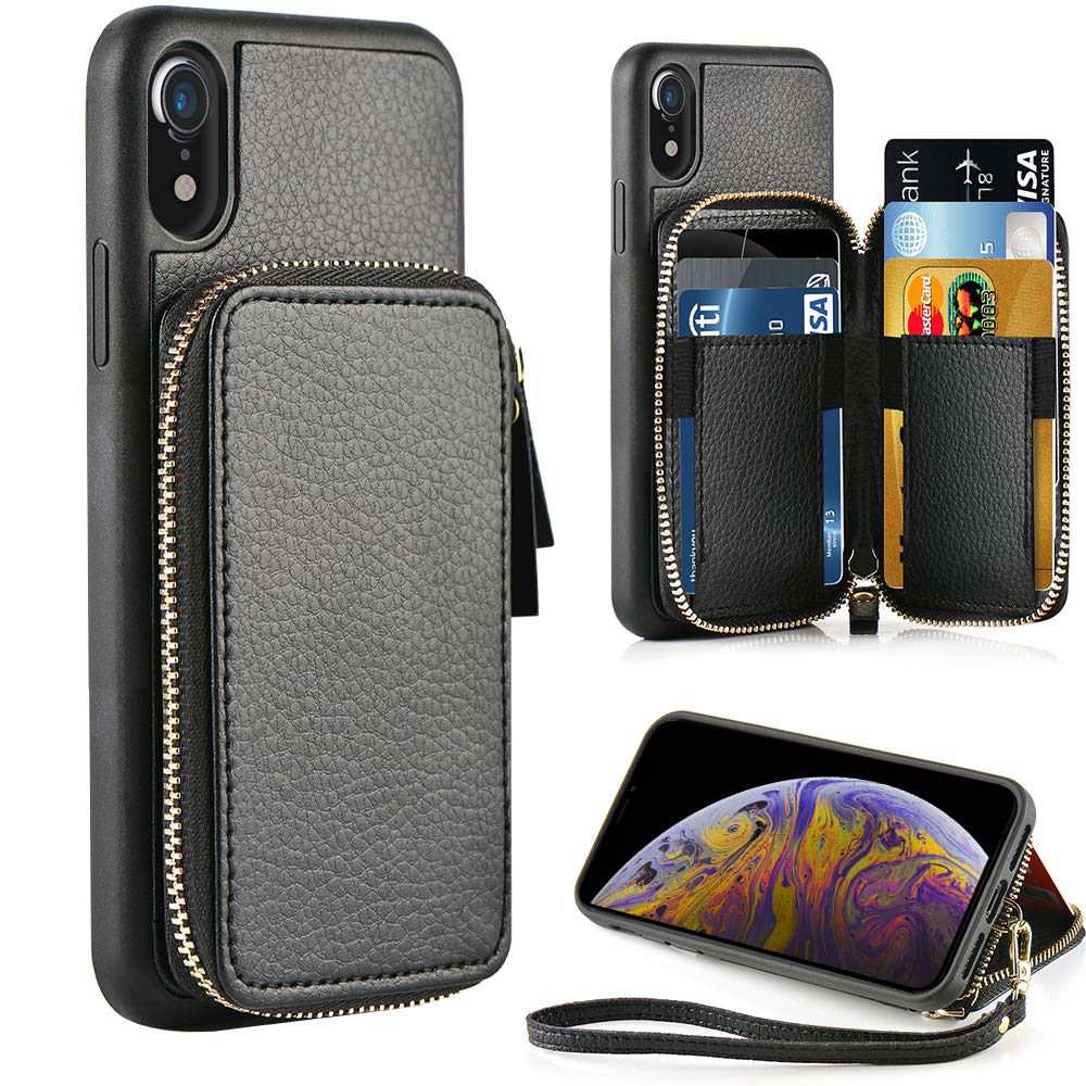 ZVE iPhone XR Wallet Case iPhone XR Case with Credit Card Holder Slot Leather Wallet Shockproof Protective Zipper Pocket Purse Handbag Wrist Strap Case for Apple iPhone XR 6.1'' (2018) Black by ZVE
