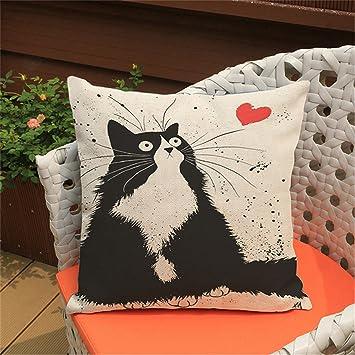 Cute patrón de dibujos animados Anime almohada gato funda de almohada de las parejas casadas gato cojines, al aire libre cojines de silla: Amazon.es: Hogar