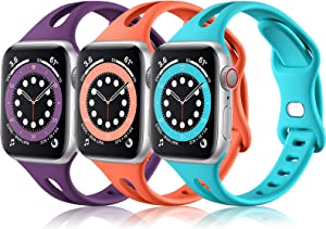 (3 Pack) Vcegari Bands Compatible with Apple Watch Band 40mm 38mm Women, Soft Thin Silicone Strap for iWatch SE & iWatch Series 6 5 4 3 2 1, Plum/Teal/Coral