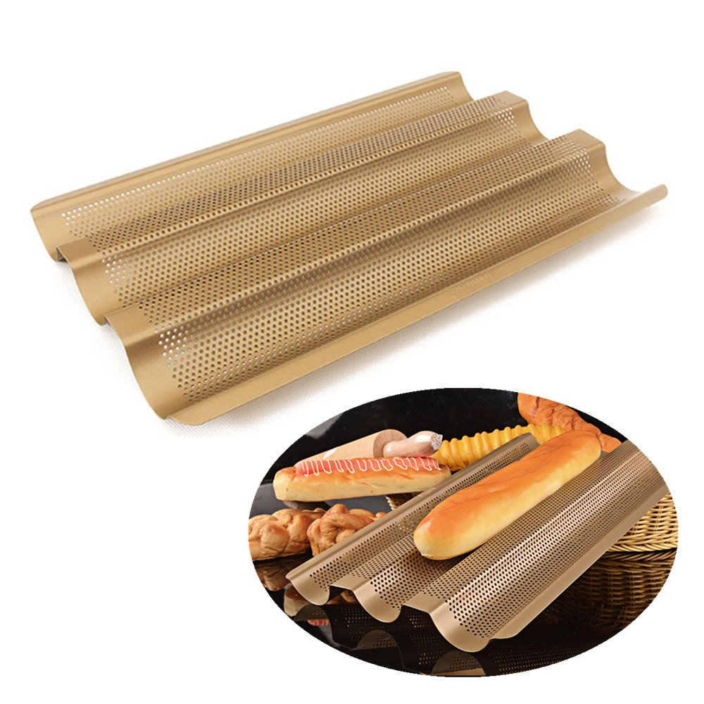F FCOZM French Bread Pan Baguette Baking Tray,Perforated Non Stick Bake Loaf Mould,15 Inches Size Large