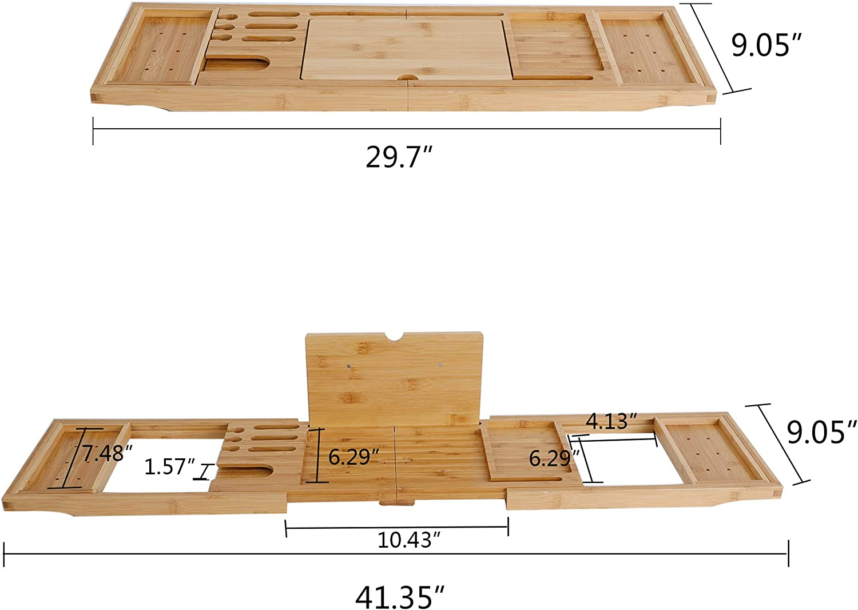 Bathtub Tray with Free Soap Holder Waterproof Extendable Bathroom Tray YULONG Lab Folding Handmade Wooden Bamboo Bathtub Caddy Tray for Luxury Bathtub