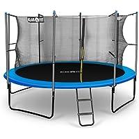 Klarfit Cama elástica trampolin con red de seguridad (superficie base 366 / 430cm diametro, sujecion 4 patas doble, varillas de sujecion acolchadas, lona resistente a los rayos UV, protector de lluvia, azul)