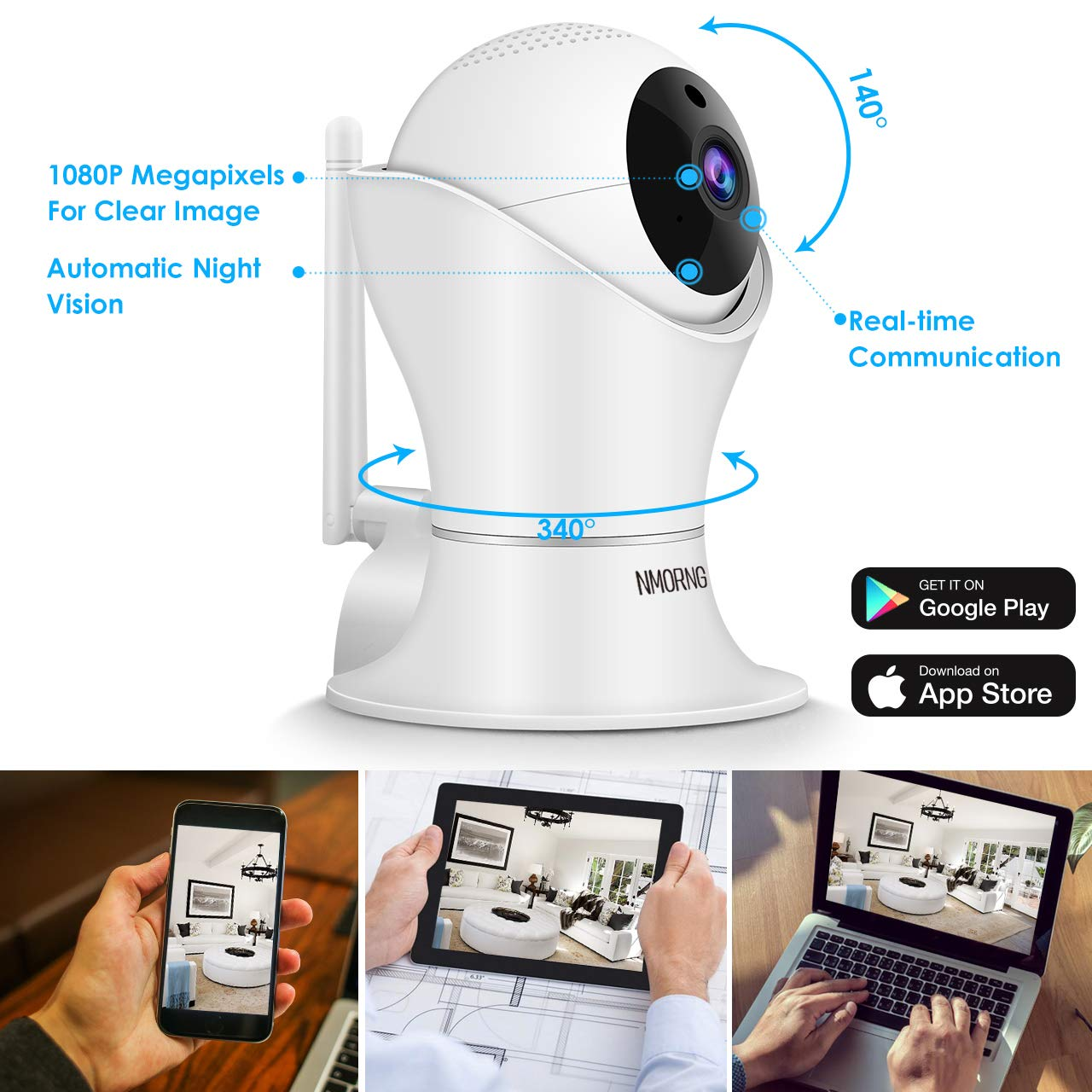 Pet Camera, 1080P Home Security Camera with Night Vision, Two-Way Audio, WIFI IP Camera for Baby Monitor, Auto-Cruise Baby Camera, Remote Control by App Indoor Camera, Cloud Storage by NMORNG (Image #2)