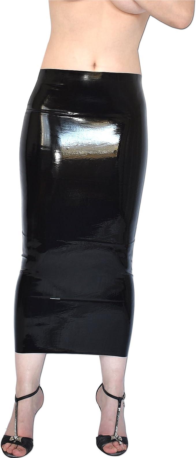 Sexy Falda Látex de cojear larga de tubo, talla S-M: Amazon.es ...