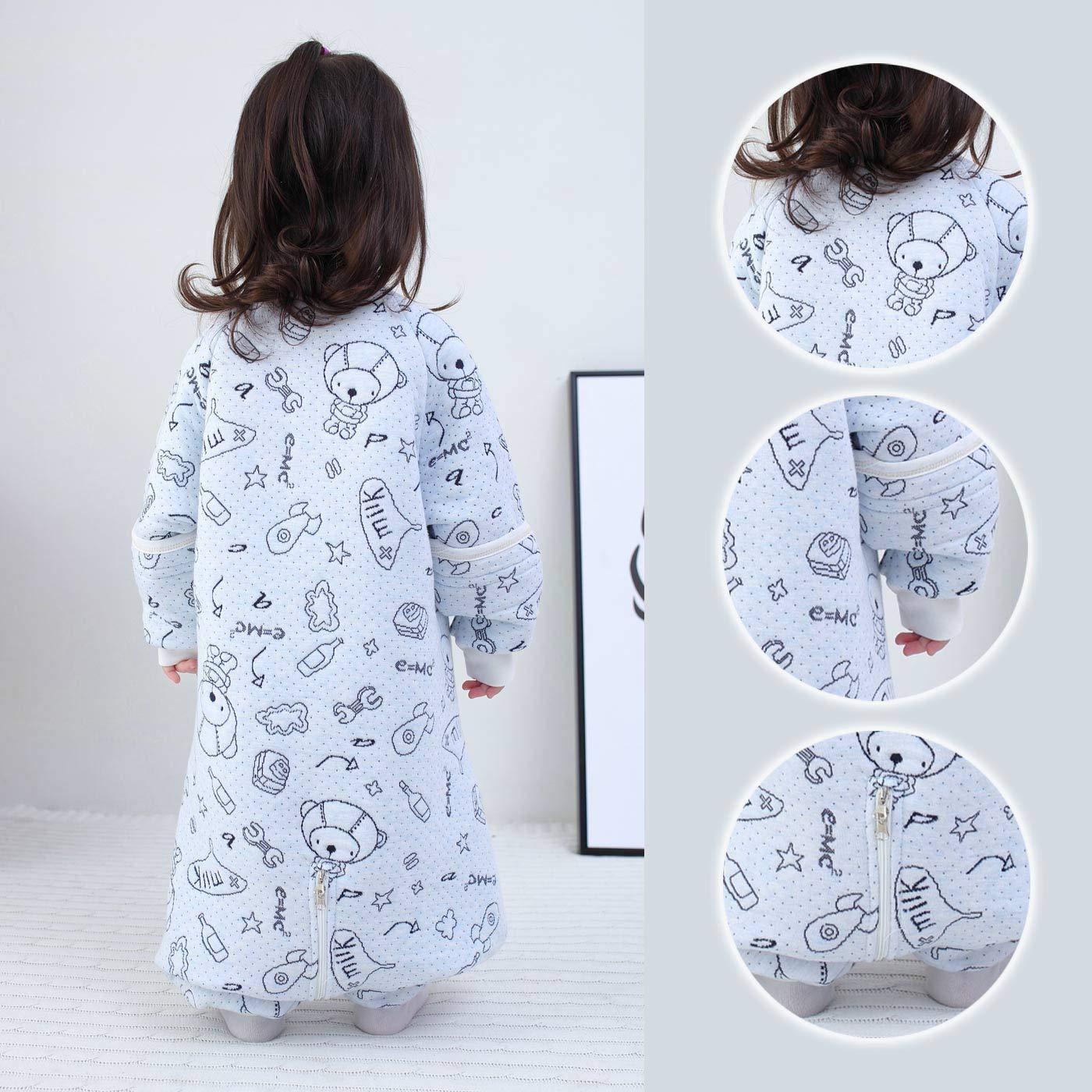 Happy cherry Beb/é Saco de Dormir de Algod/ón con Piernas Pijama con Mangas Desmontables para Primavera Oto/ño para 1-5 a/ños