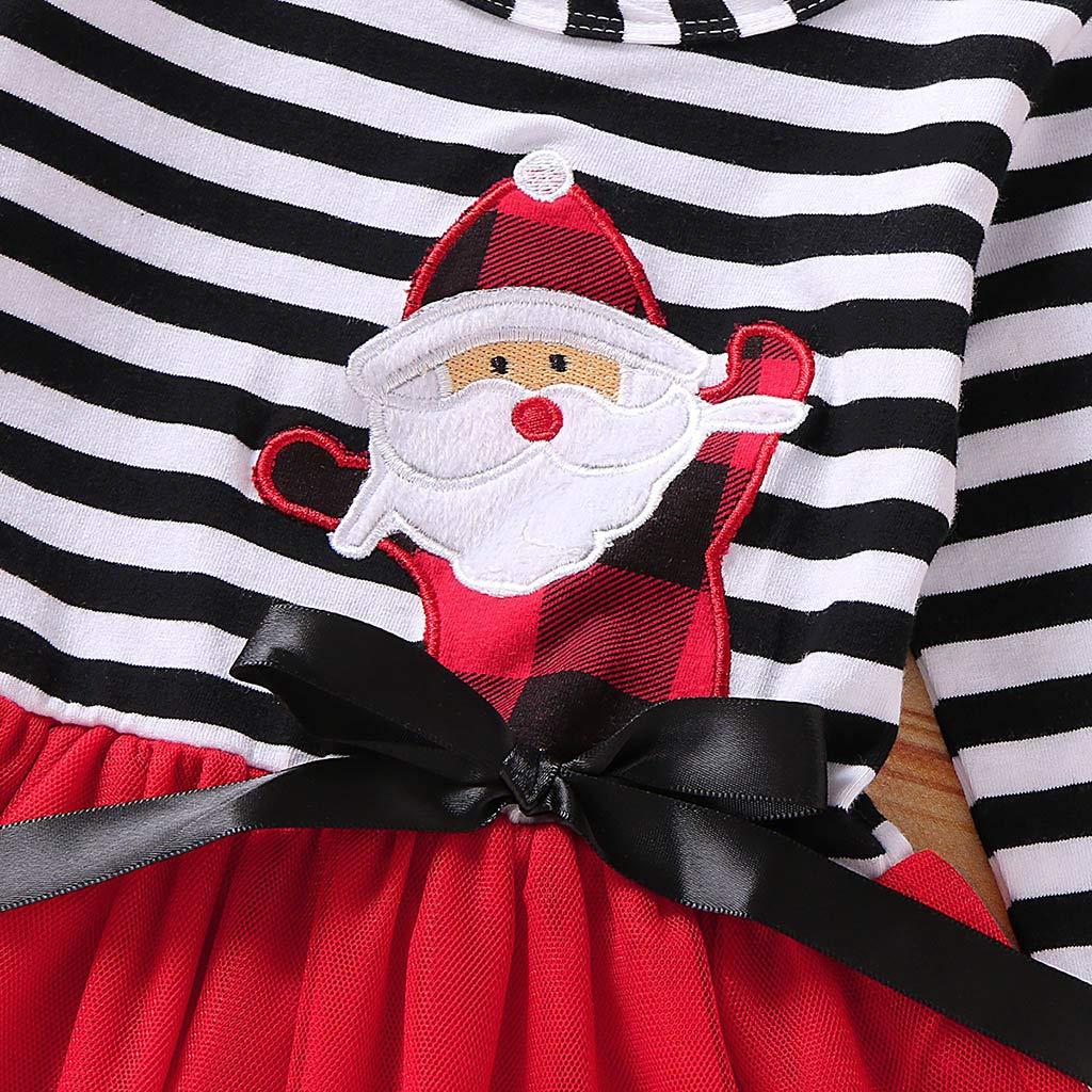 Voberry 2 Pezzi Vestito da Natale per Bambina Abito da Principessa in Tulle con Stampa Strisce Fascia per Capelli Set di Abiti di Natale per Ragazze 2-5 Anni
