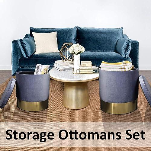 Elnsivo Storage Ottoman Set Round Velvet Footrest Modern Stool