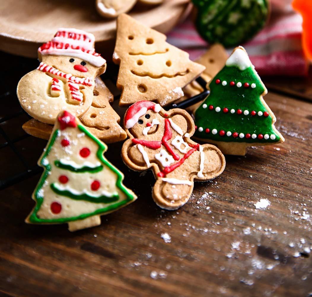 GIVBRO Renna per Bambini Albero di Natale Fiocco di Neve Set di 5 formine per Biscotti Natalizie in Acciaio Inox omino di Pan di Zenzero