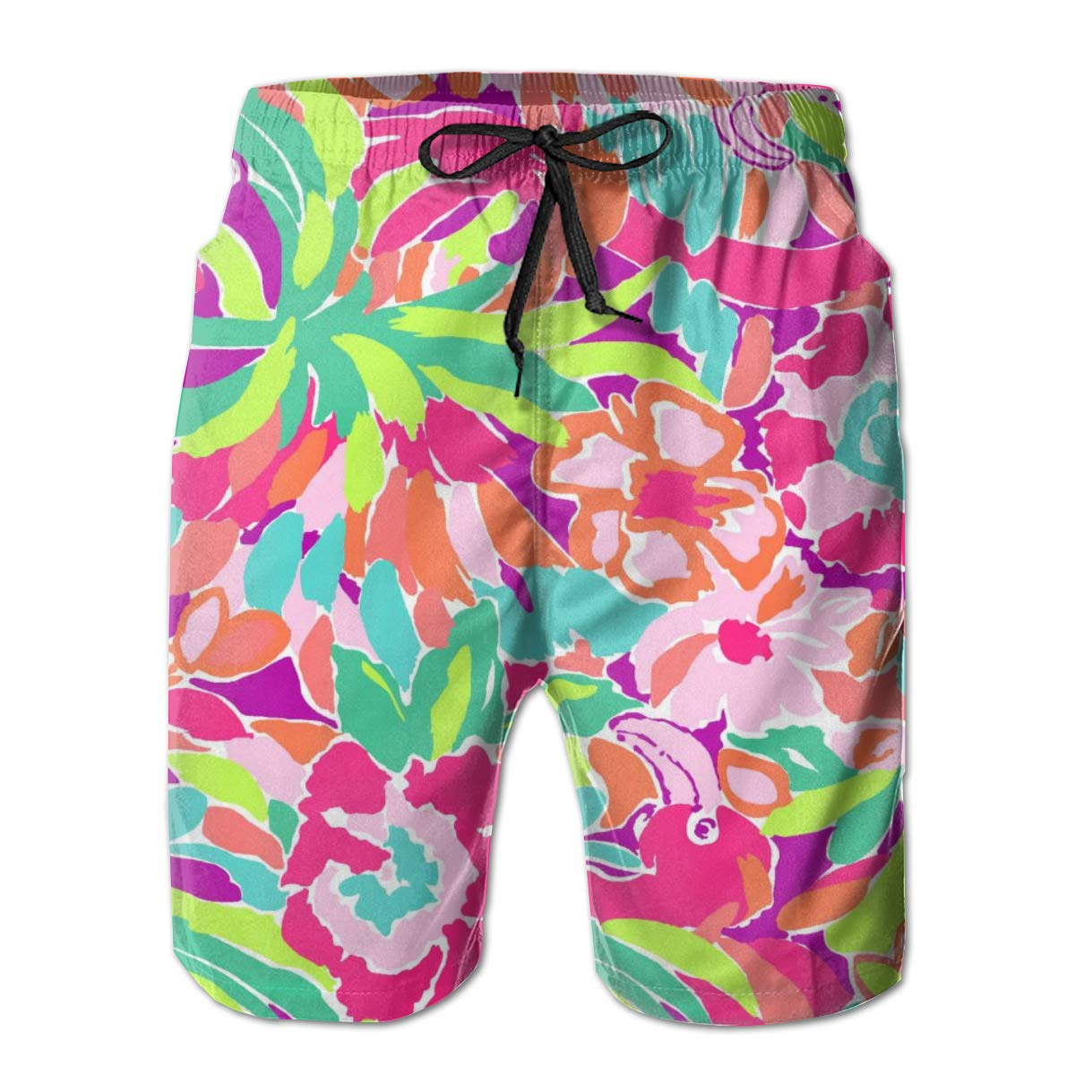 Mens Beachwear Swim Trunks Pink Flamingo Water Resistant Surfing Beach Summer Outfit Pants