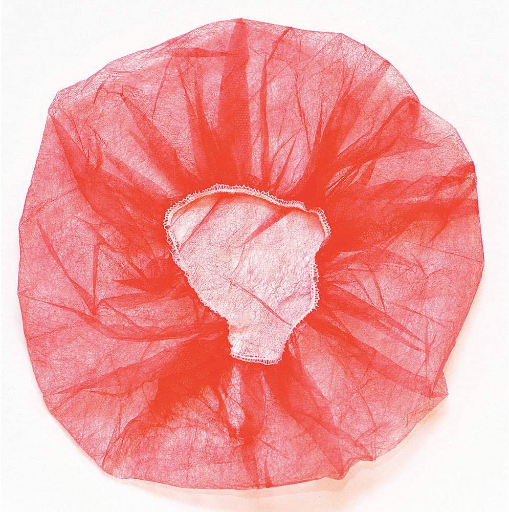 18 Red Bouffant Caps-Pleated 100 Count