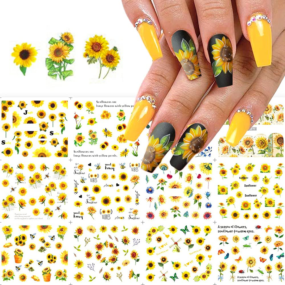 Sunflowers Nail Art Decorations Flowers Nail Art Supplies Yellow Daisy Flowers Charms Butterfly Bee Nail Design Nail Art Stickers Decals Foils Wraps Tattoo for Women Nail Accessories 1 Big Sheet