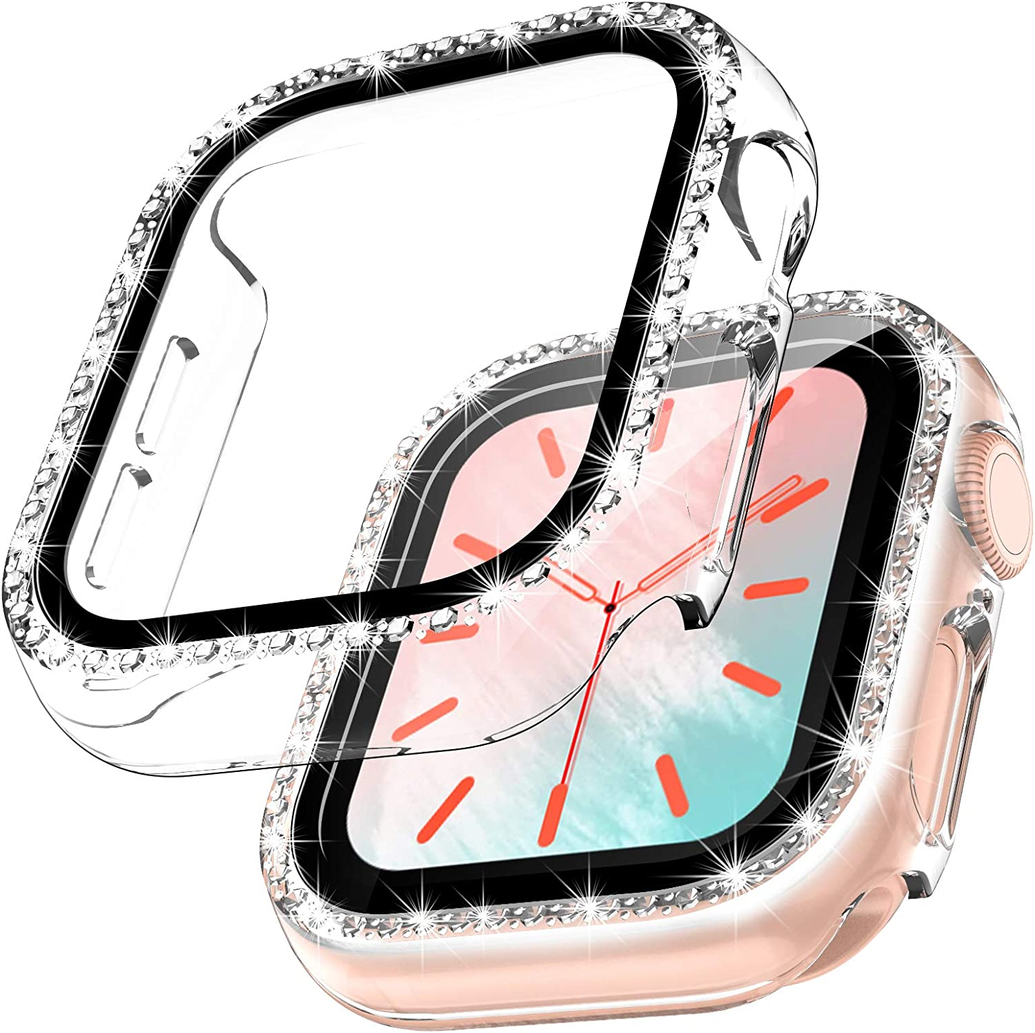 TOCOL [2 Packs] Case Compatible with Apple Watch Series 3/2/1 42mm with Built-in Tempered Glass Screen Protector, Bling Crystal Diamond Face Cover for Women iWatch 42mm - Clear