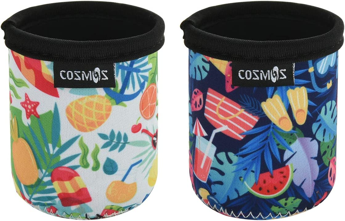 CM Soft Neoprene 7.5 Fl Oz Mini Can Sleeves Insulators Can Cooler Sleek Can Covers for Energy Drink & Beer Cans (7.5 OZ Holiday Pattern (2 Pcs))