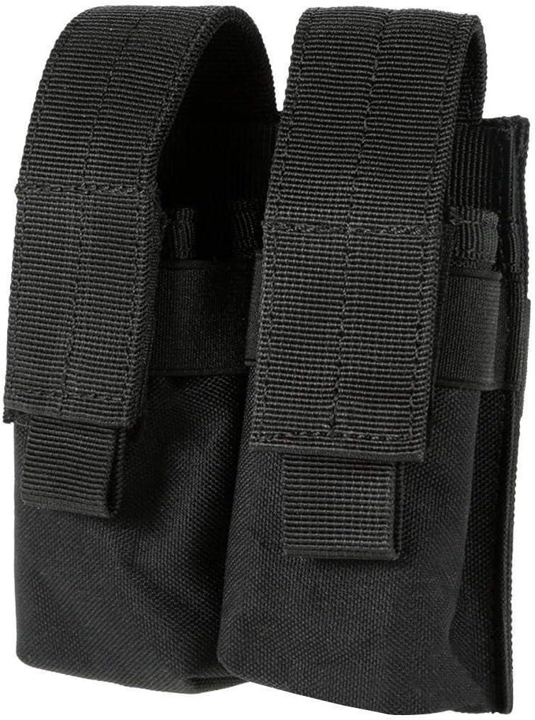 Lixia-Stocks, Molle Sistema de Pistola táctica Revista Doble Bolsa molle Clip Militar Airsoft mag sostenedor del Bolso de Caza Accesorios (Color : Negro)