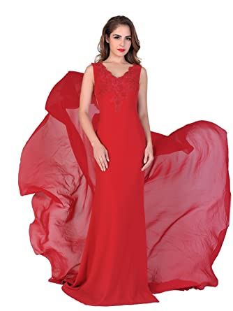 Miss Chics Women Long Chiffon Trail Lace Beaded Evening Gowns Prom Dresses Plus(8,