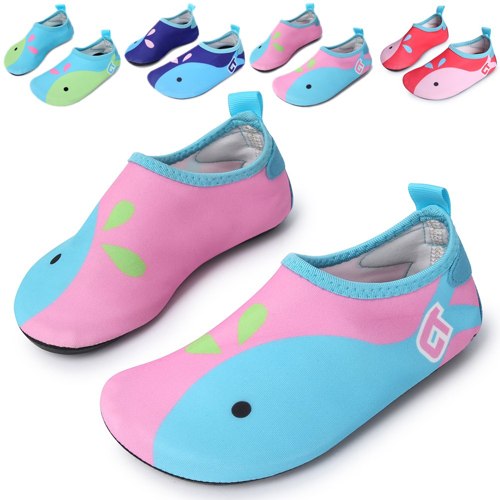 L-RUN Unisex Aqua Water Shoes Barefoot for Beach Pool Surf Yoga Exercise Pink 11-11.5=EU 28-29