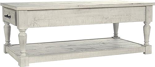 Signature Design by Ashley – Shawnalore Rectangular Cocktail Table, Whitewash Wood