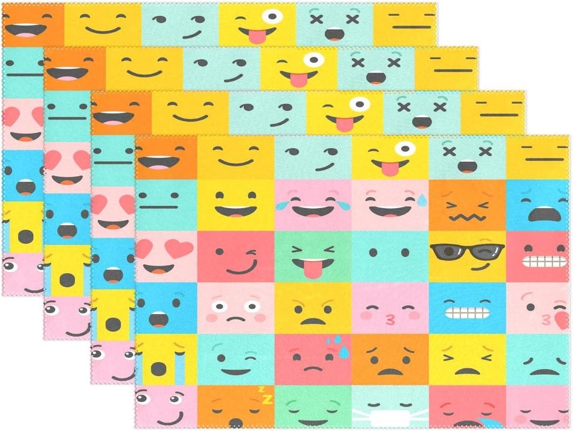 Promini Juego de 4 manteles Individuales de poliéster, diseño de emoticonos Coloridos, 30,5 x 45,7 cm