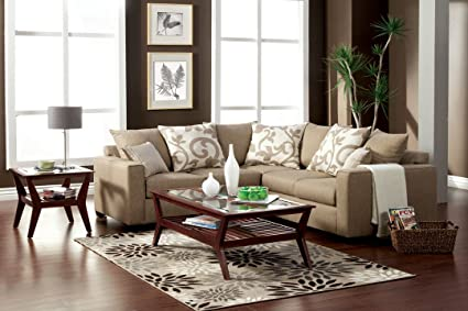 Amazon.com: Cranbrook contemporary style sand stone fabric Sectional ...