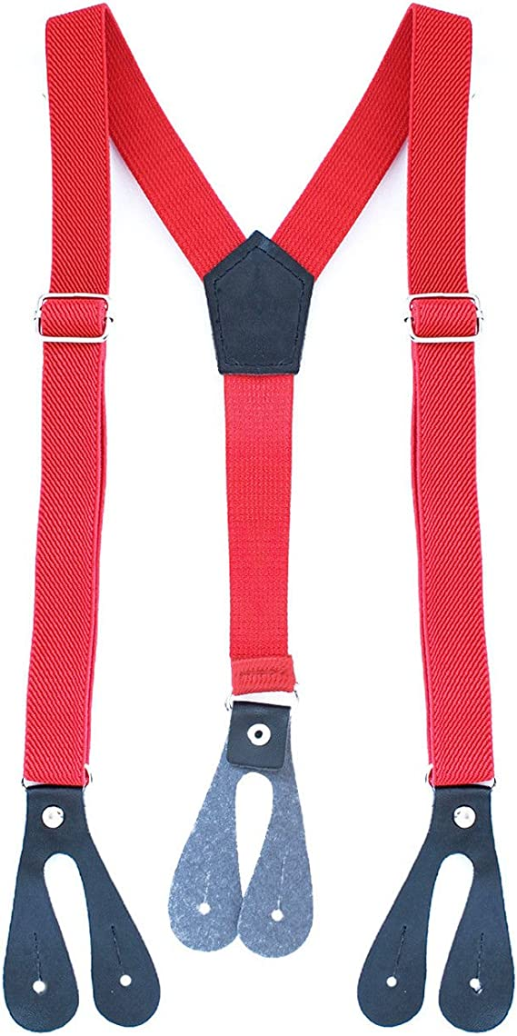 25mm Wide Adult Mens Adjustable Elastic Button Hole Suspenders Y Shape Braces