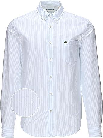 Lacoste CH2293 Camisa, Azul (Atmosphere/Blanc), 39 (Talla del Fabricante: 39) para Hombre: Amazon.es: Ropa y accesorios