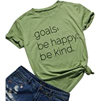Be Happy Be Kind Funny Graphic T-Shirt Women Casual Letter Print Tee Tops Blouse