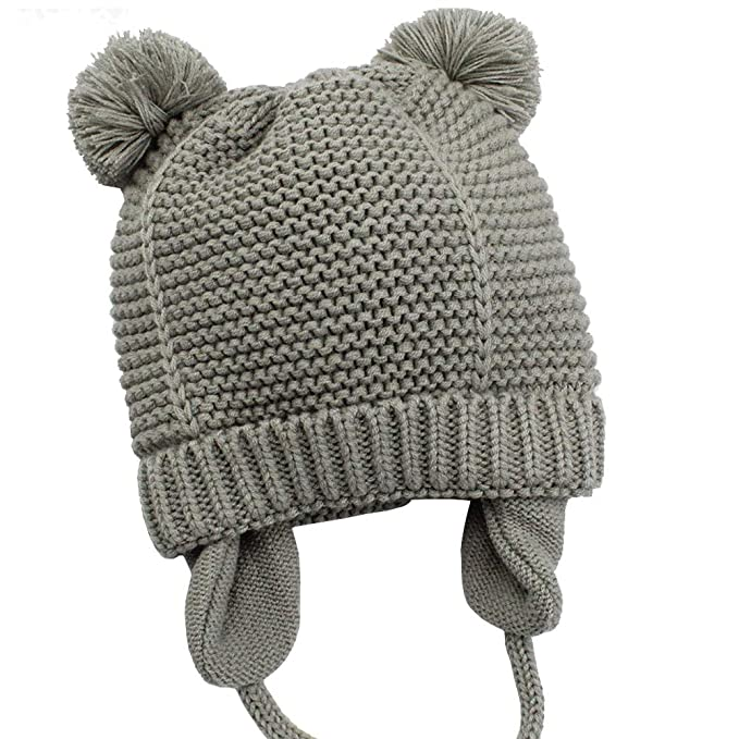 9a809509f5a Zeslmg Baby Beanie Earflaps Hat Winter Warm Knit Hat with Pompom for Infant  Toddler Girls Boys