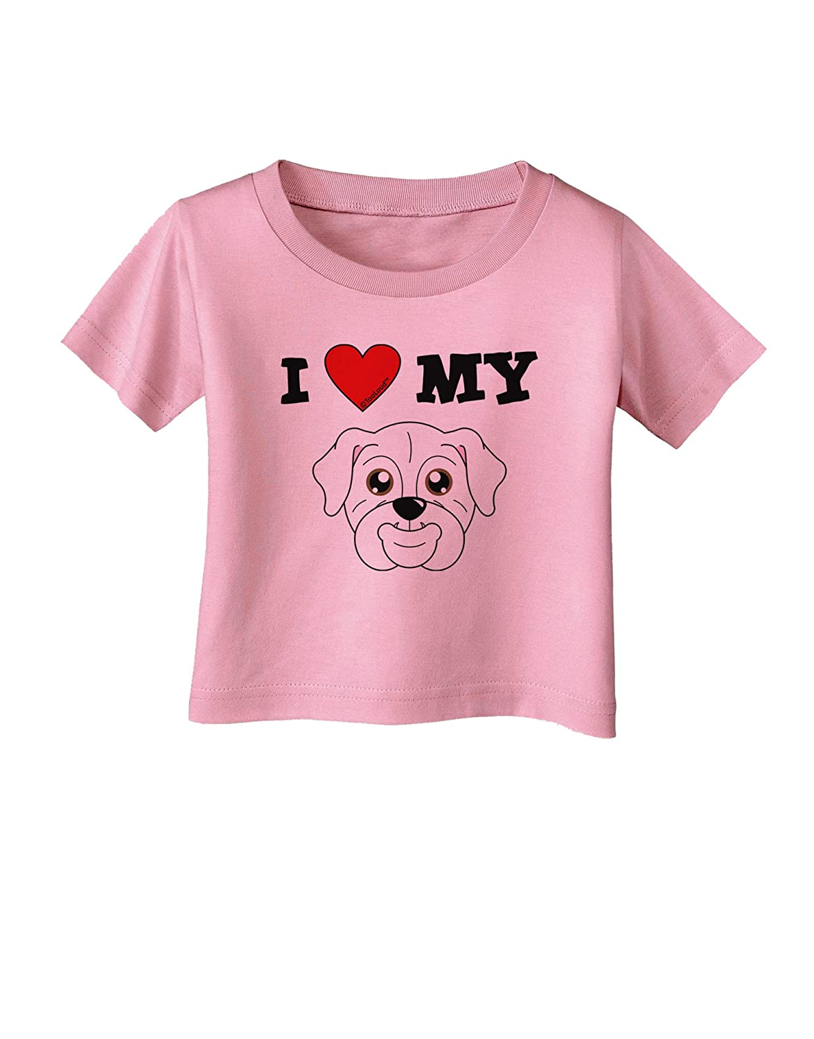White Infant T-Shirt TooLoud I Heart My Cute Bulldog