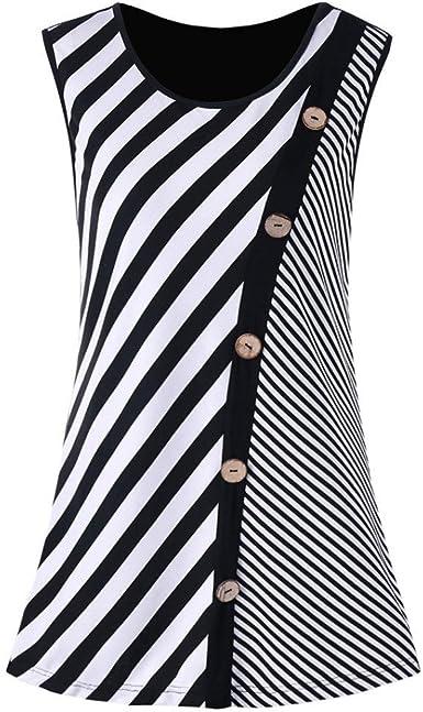 FAMILIZO Camisetas Sin Manga Mujer Largo Verano Blusa Mujer Sport Tops Mujer Verano Camisetas Mujer Fiesta Elegante Tank Tops Sin Mangas Mujer Fiesta Blusa T-Shirt Rayas: Amazon.es: Ropa y accesorios