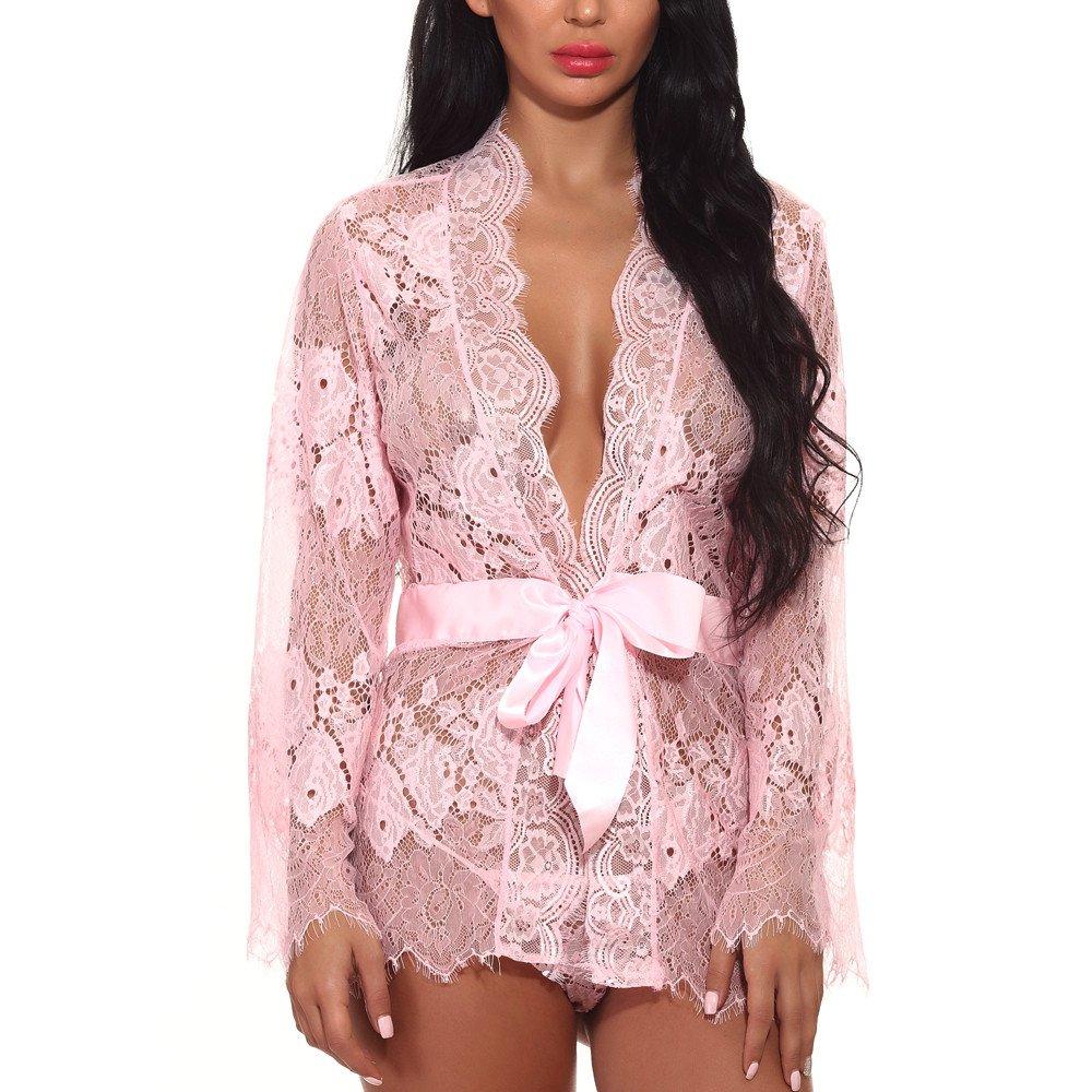 Women's Nightwear Dress Fudule Women Sexy Lace Lingerie Babydoll Bodysuit Belt+G-String Sleepwear Bath Robe Underwear Pink