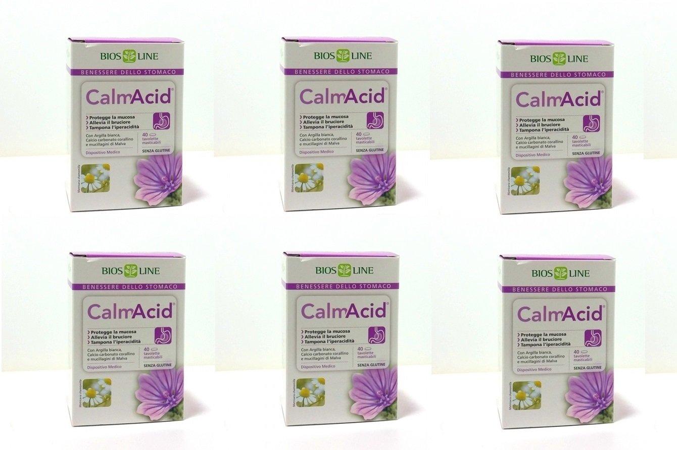 Biosline - calmacid 6 paquetes de 40 tabletas, iperacidità, gastriti, pirosi: Amazon.es: Salud y cuidado personal
