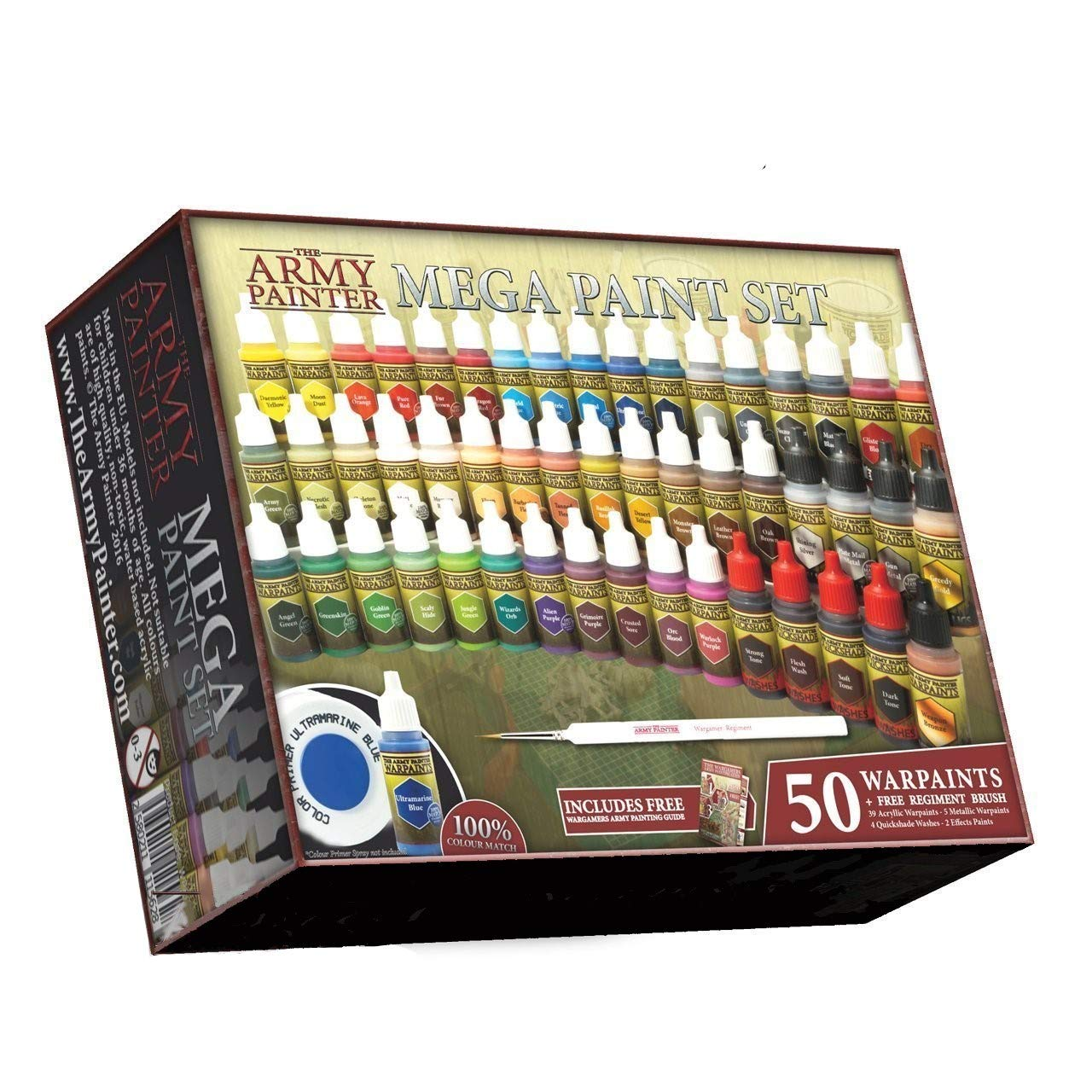 The Army Painter Miniature Painting Kit with Bonus Wargamer Regiment Miniature Paint Brush - Acrylic Model Paint Set with 50 Bottles of Non Toxic Model Paints - Mega Paint Set 3 by The Army Painter