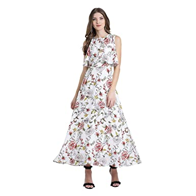 270cbbe4b6 Zink London White Polyester Floral Flare Maxi Dress for Women (Small)