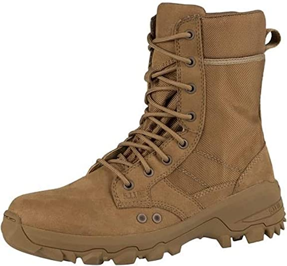 Image of a brown tactical boot with laces in place, two holes seen serves as water drainage, rugged-design outsole.