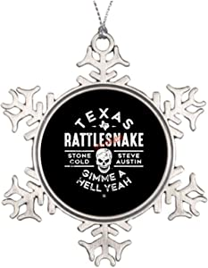 VinMea Xmas Snowflake Ornaments Texas Rattlesnake Steve Austin Hell Yeah Metal Snowflake Ornaments Ideas for Decorating Christmas Trees