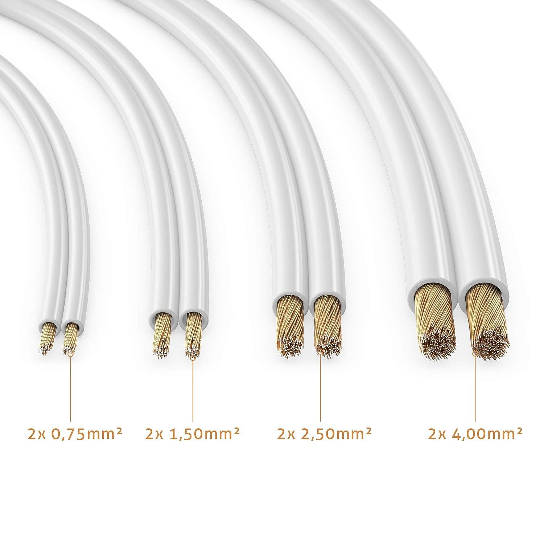 transparente color sonero/® 20 metros 2x1.50mm/² Cable de altavoz CCA