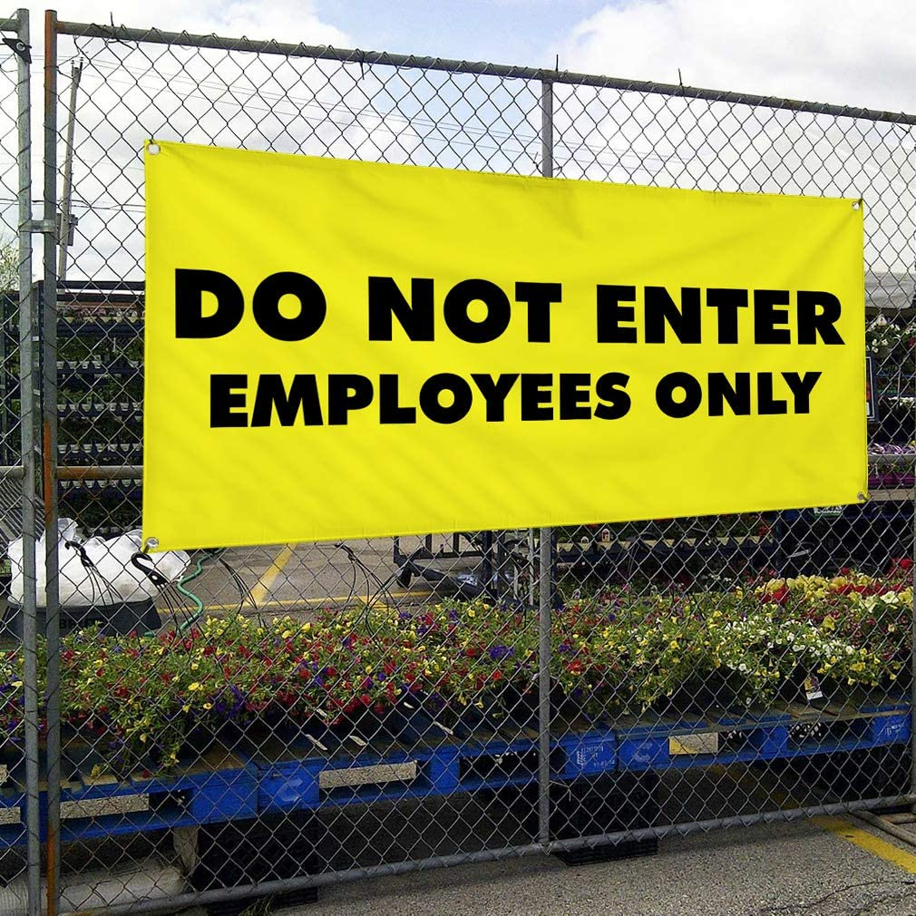 Vinyl Banner Multiple Sizes Do Not Enter Employees Only B Business Outdoor Weatherproof Industrial Yard Signs Yellow 8 Grommets 48x96Inches