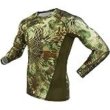 (ガンフリーク) GUN FREAK 迷彩柄 コンプレッション ウェア 長袖 Tシャツ インナー ハニカム 迷彩 サバゲー (マンドレイク グリーン, L)