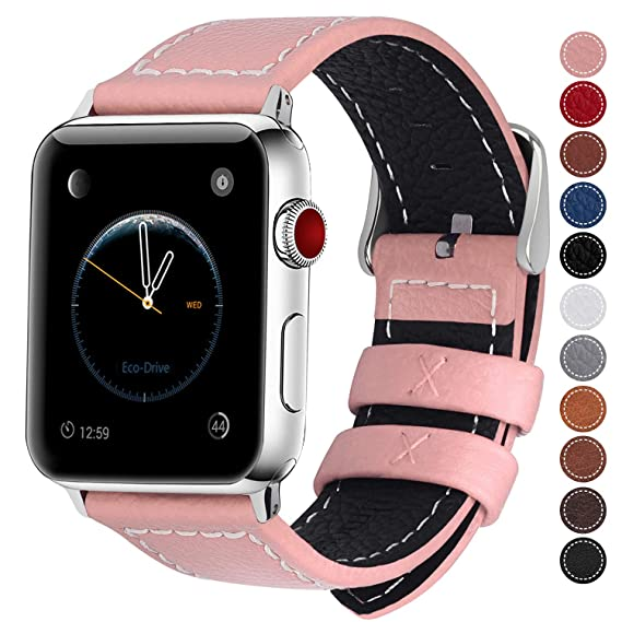 Fullmosa Compatible Smart Watch Band 38mm 40mm 42mm 44mm Genuine Leather Watch Bands, 38mm 40mm Pink + Silver Buckle