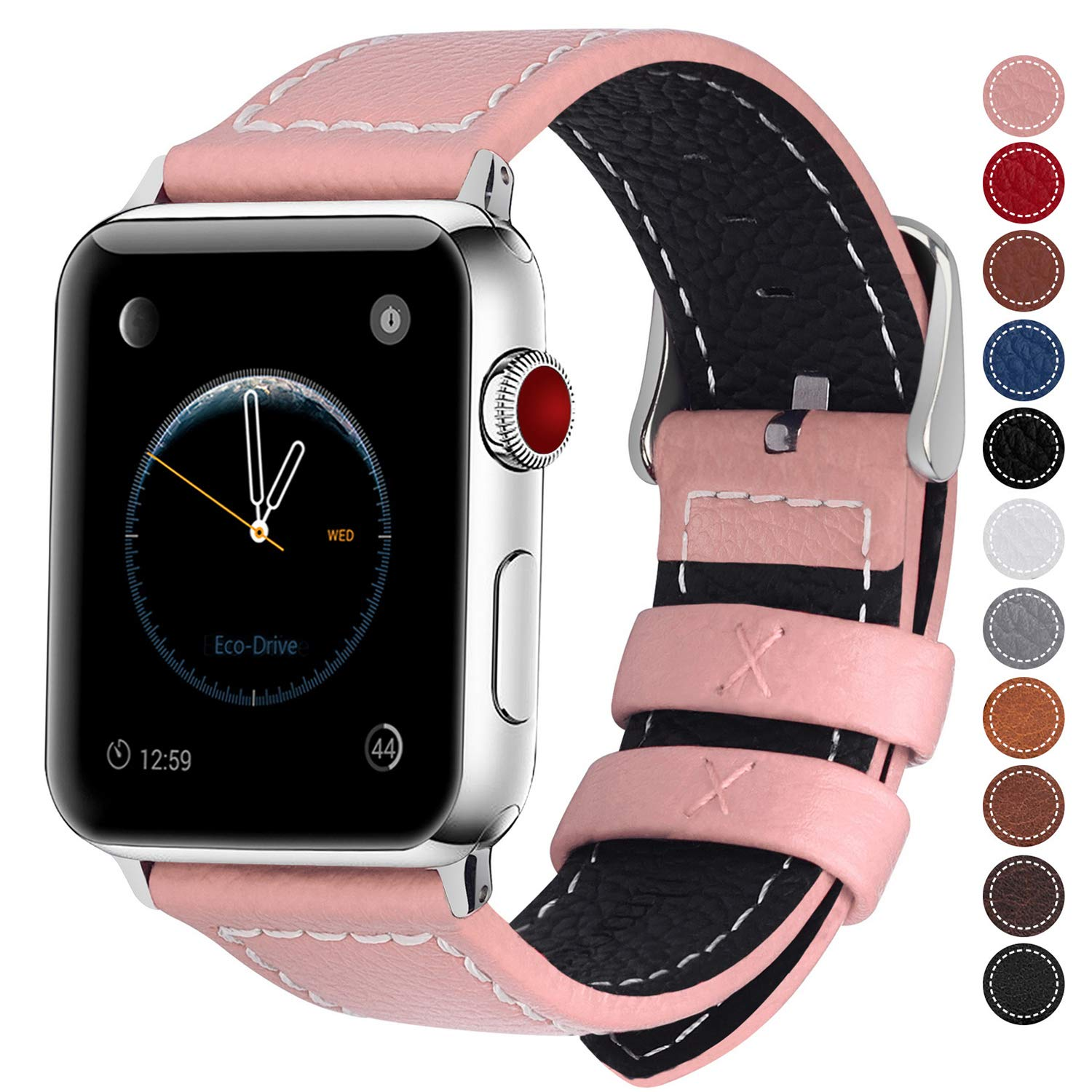 Fullmosa Compatible Apple Watch Bands 42mm 44mm and 38mm 40mm, Jan Series Lichi Texture Calf Leather Strap Replacement Band/Strap/Bracelet for iWatch Series 4, Series 3, Series 2, Series 1, Sport and Edition Versions 2015 2016 2017 product image