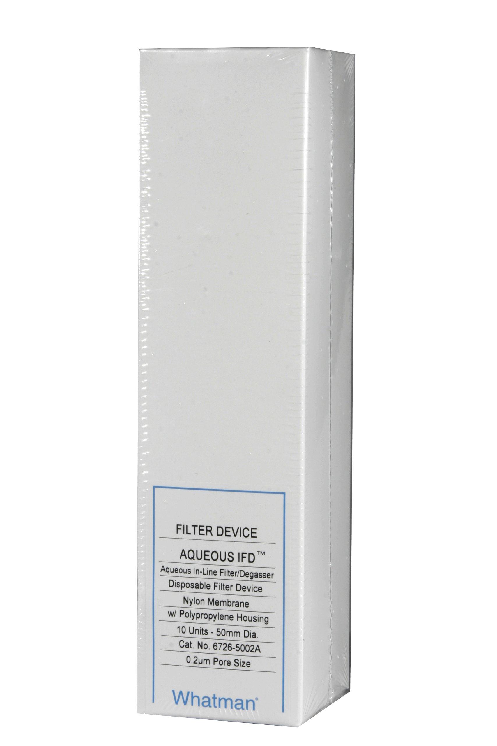 Whatman 6726-5002A Aqueous IFD Nylon In-line Filter, 42 psi Maximum Pressure, 0.2 Micron, 2.5mL/min Flow Rate, 50mm Diameter (Pack of 10) by Whatman