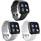 AK Fitbit Versa Bands (3 Pack), Soft Replacement Wristband Sports Waterproof Strap Fitbit Versa Smart Watch Small Large Women Men