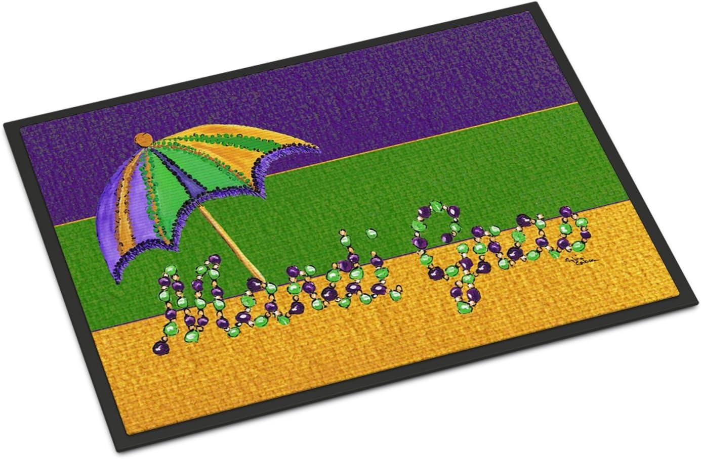 Caroline s Treasures 8381MAT Mardi Gras Indoor or Outdoor Doormat, 18 x 27 , Multicolor