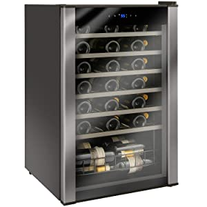 Wine Enthusiast 48-Bottle Evolution Series Freestanding Wine Refrigerator with Black Stainless Door