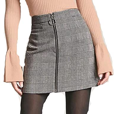 3a8486daa Image Unavailable. Image not available for. Color: yXTAQywI Sexy Plaid  Skirts Women Short Pencil Skirt ...