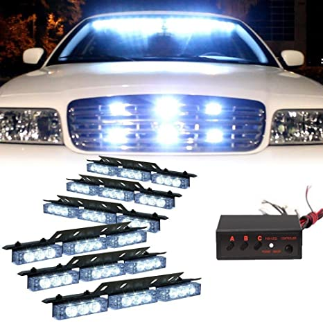 Vehicle Strobe Lights >> Hy 54x Led Emergency Vehicle Strobe Lights Bars Deck Dash Grill Warning Lights White